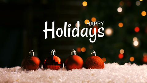 Happy holidays text and Christmas decorations with tree Animation