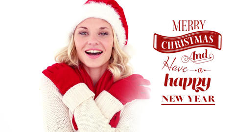 Merry Christmas and Happy New Year text with beautiful cozy Santa woman Animation