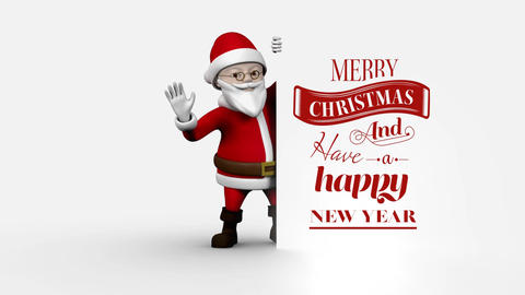 Merry Christmas and Happy New Year text with Santa holding board Animation