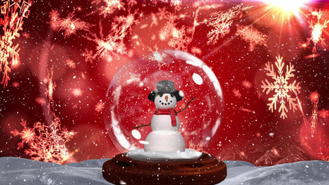 Cute Christmas animation of snowman against bokeh background 4k Animation