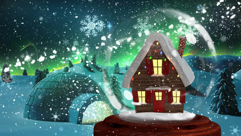 Christmas animation of Christmas house in snowy landscape 4k Animation