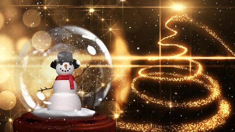 Cute Christmas animation of snowman in snow globe and spiral light trail 4k Animation
