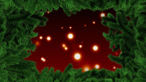 Christmas tree border with glowing lights Animation