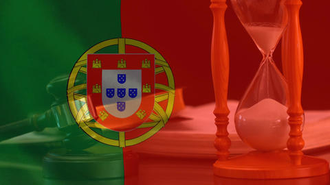 Digitally composite of Portugal Flag and hourglass 4k Animation
