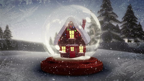 Christmas animation of illuminated hut against snowy landscape 4k Animation