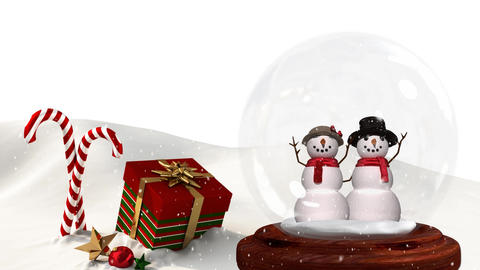 Cute Christmas animation of snowman couple and Christmas gift in snowy landscape 4k Animation