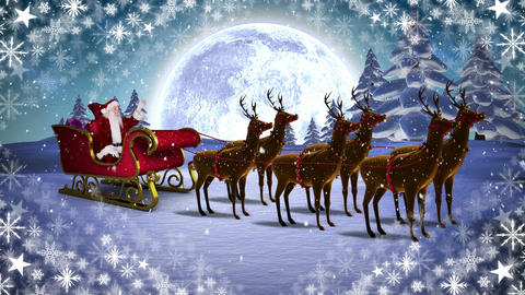 Santa and reindeer in sleigh in Winter landscape with snowflakes Animation