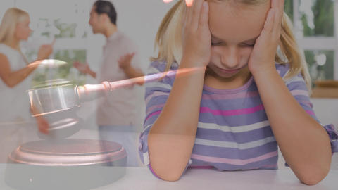 Conceptual digital animation of kid suffering while parents having a fight 4k Animation