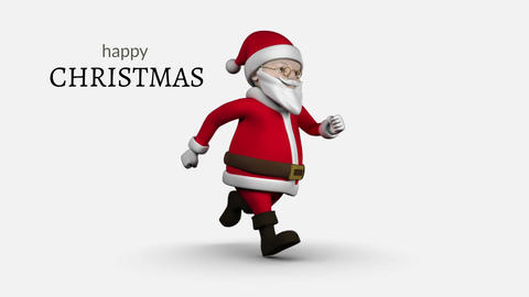 Happy Christmas text and Santa Animation