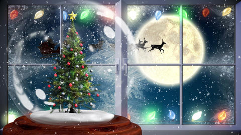 Cute Christmas animation of Christmas tree near window at night 4k Animation
