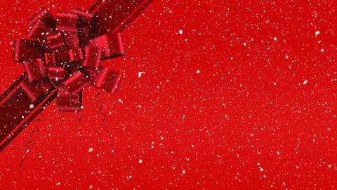 Digital animation of red ribbon with gift bow against red background 4k Animation