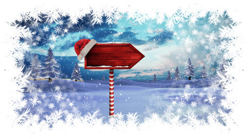 Christmas snowflake border with arrow sign in Winter landscape Animation