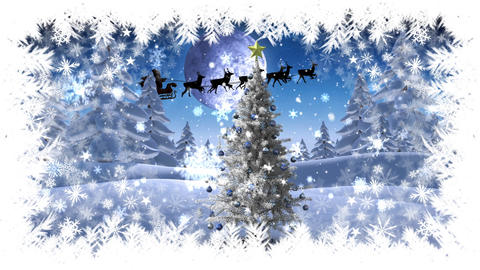 Christmas snowflake border with Christmas tree in Winter landscape with Santa flying Animation