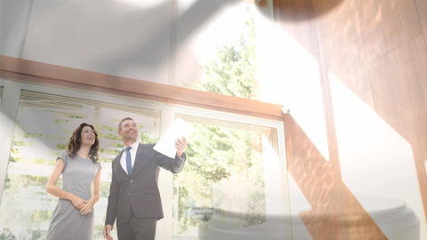 Digital animation of couple standing at new house 4k Animation