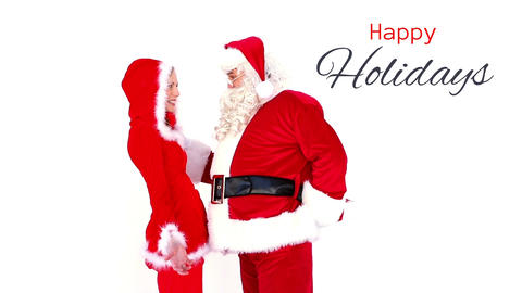 Happy Holidays text and Santa giving gift to woman Animation