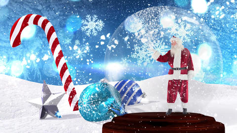 Cute Christmas animation of santa claus in snow globe 4k Animation