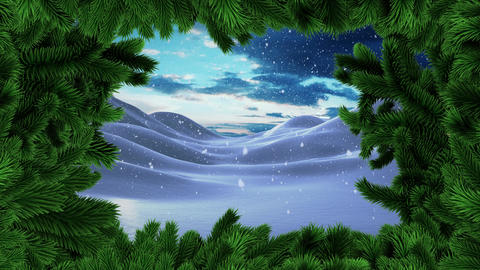 Christmas tree border with Winter snow landscape Animation