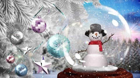 Cute Christmas animation of snowman and glittery baubles on the Christmas tree 4k Animation