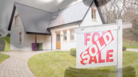 Digital animation of sold home for sale real estate sign and beautiful new house 4k Animation