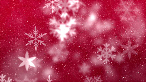Digital animation of snowflake moving against the red background 4k Animation