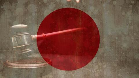 Digitally composite of Japanese flag 4k Animation