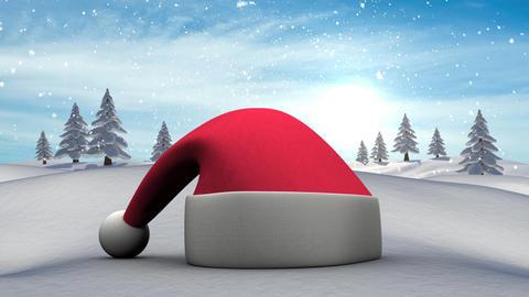 Santa hat in Winter snow landscape Animation