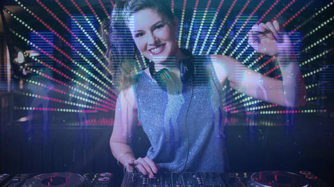 Digital animation showing smiling disco jockey mixing music in pub 4k Animation