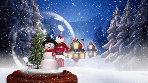 Cute Christmas animation of illuminated hut and Christmas tree 4k Animation