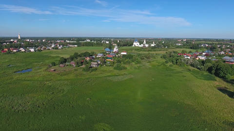 Aerial view on kremlin in Suzdal, Russia Footage