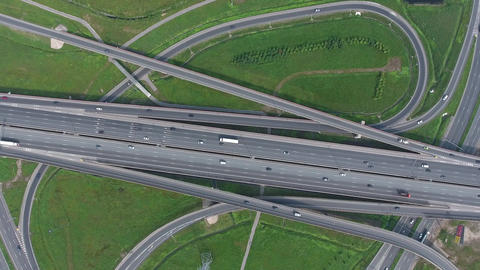 Aerial view on modern road junction, 4k Footage
