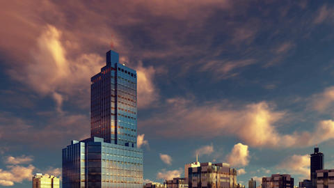 High rise building at sunset time lapse 3D animation Footage