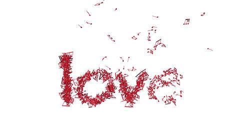 """Word """" love"""" in shape of music notes Animation"""