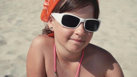 98 portrait child girl sunglasses Footage