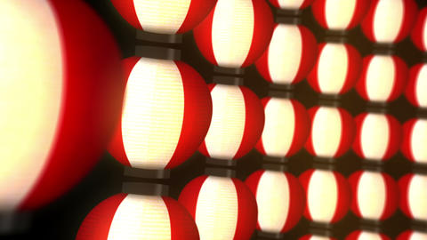 lights of Japanese paper lanterns,Kyoto,CG Loop Animation Animation