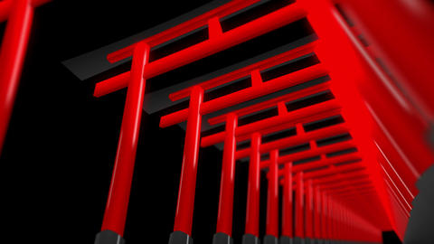 Red Torii Gates in Japan,CG Animation,Loop CG動画素材