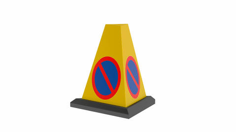 Yellow no parking cone Animation