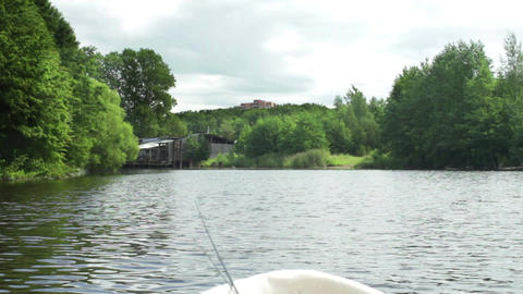 Sailing on river view from the of a fishing boat Footage