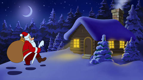 Christmas and New Year animated card with Santa Claus Stock Video Footage