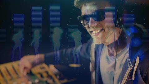 Digital animation showing smiling disco jockey mixing music in pub Animation