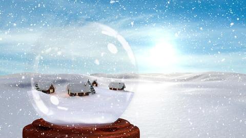 Digital animation of illuminated huts against snowy landscape 4k Animation