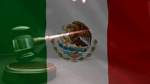 Digitally composite of grunge Mexican Flag and gavel 4k Animation
