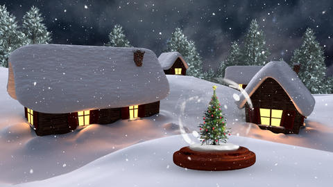 Christmas animation of illuminated huts and Christmas tree in magical forest at night 4k Animation