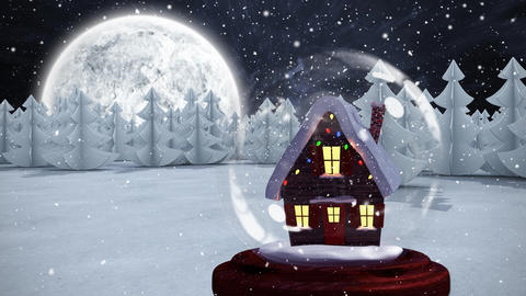 Christmas animation of hut in forest 4k Animation