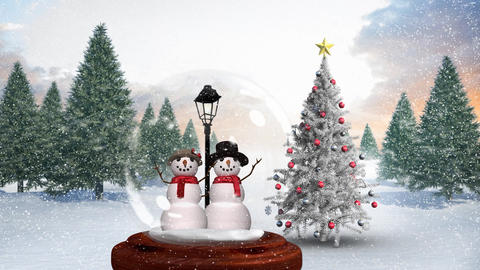 Cute Christmas animation of snowman couple in snow globe in magical forest 4k Animation