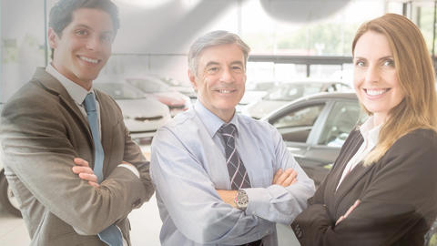 Digital animation of business people standing arms crossed at car showroom 4k Animation