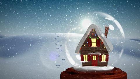 Christmas animation of Christmas house on snowy landscape 4k Animation