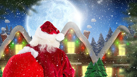 Santa clause in front of decorated houses combined with falling snow Animation