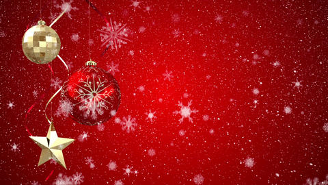 Digital animation of Christmas ornaments against red background 4k Animation