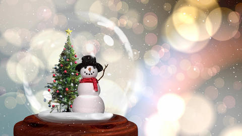 Cute Christmas animation of snowman and Christmas tree in snow globe 4k Animation