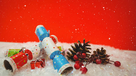 Falling snow with Christmas decorations Animation